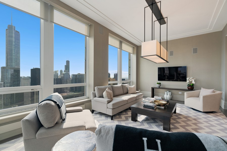 Real Estate Photography - 55 E Erie St, 5401, Chicago, IL, 60611 - Family Room