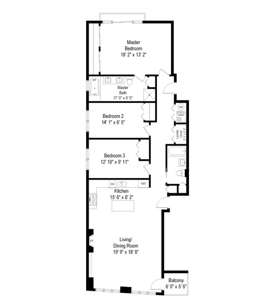 Real Estate Photography - 2902 N Central Park, 2S, Chicago, IL, 60618 - Floor Plan