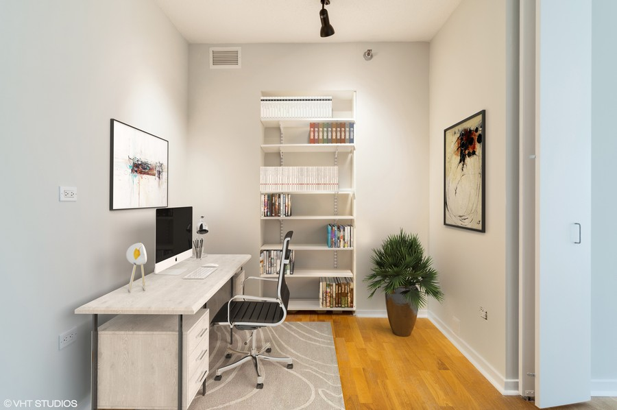 Real Estate Photography - 400 N La Salle, Unit 4207, Chicago, IL, 60654 - Master Bedroom Office Space