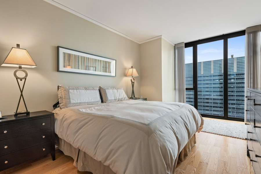 Real Estate Photography - 225 N Columbus Dr, 6808, Chicago, IL, 60601 - Master Bedroom