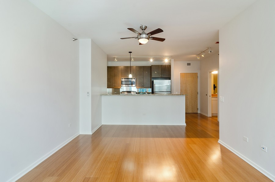 Real Estate Photography - 125 S. Green Street, Unit 302A, Chicago, IL, 60607 - Kitchen / Living Room