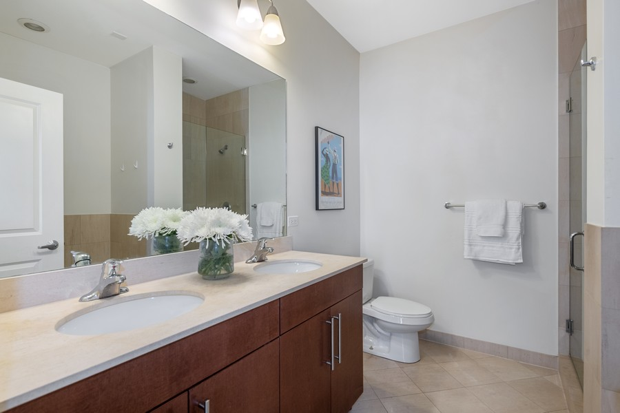 Real Estate Photography - 2771 W Francis Pl, 305N, Chicago, IL, 60647 - Master Bathroom