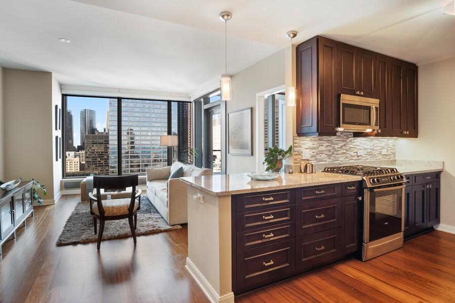 Real Estate Photography - 60 E Monroe unit 3106, Chicago, IL, 60603 - Kitchen / Living Room
