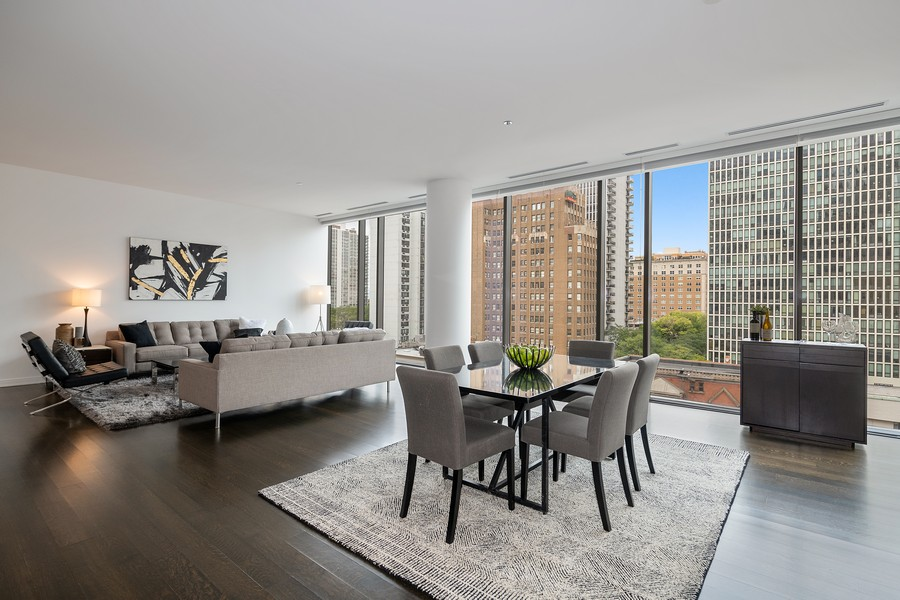 Real Estate Photography - 4 E. Elm #6N, Chicago, IL, 60611 - Living Room/Dining Room