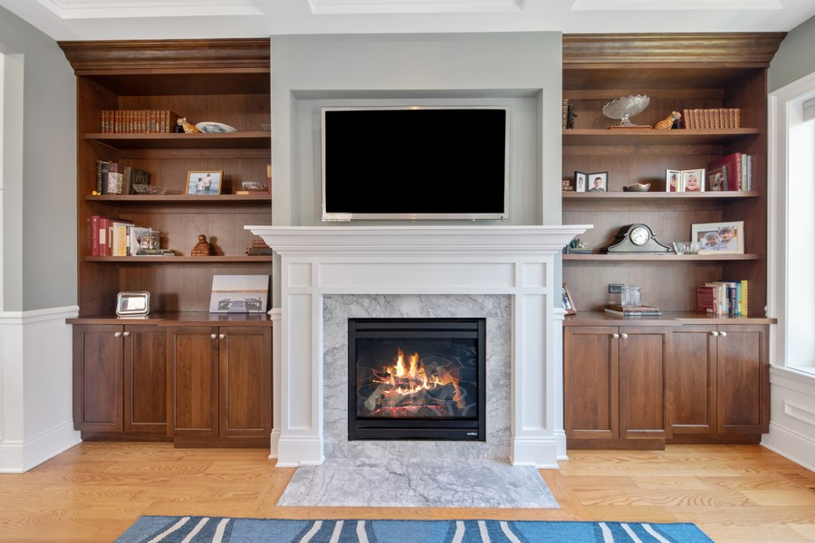 Real Estate Photography - 1938 N. Winchester, Chicago, IL, 60647 - Family Room with One of Four Fireplaces & Built In