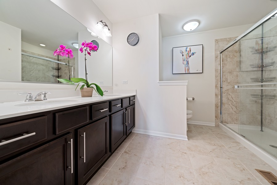 Real Estate Photography - 875 Lewisburg, Aurora, IL, 60504 - Master Bath with Dual Vanity
