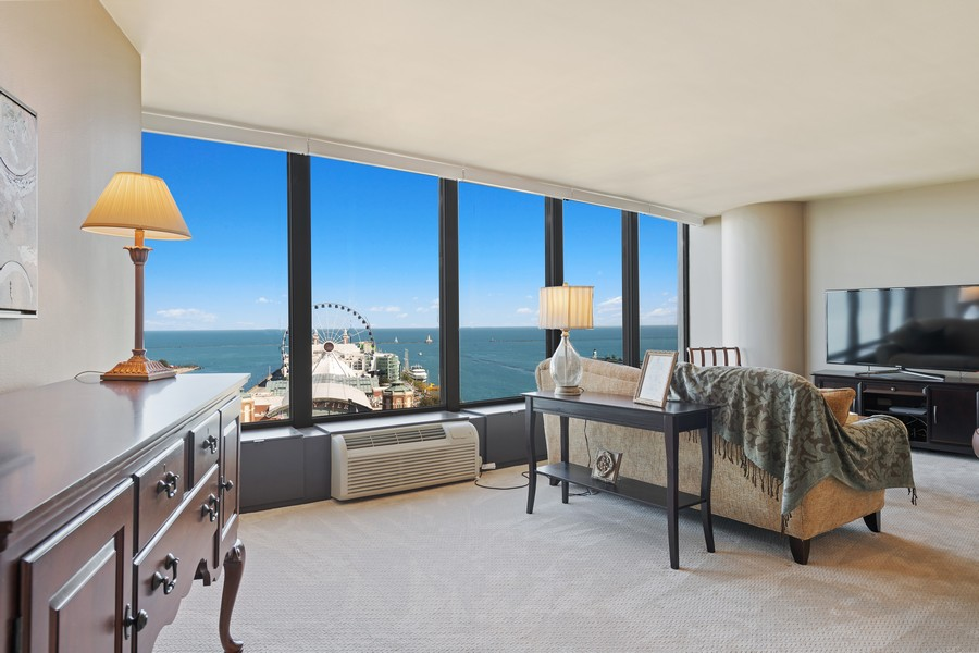Real Estate Photography - 505 N. Lake Shore Drive, Unit #1606, Chicago, IL, 60611 - Living Room