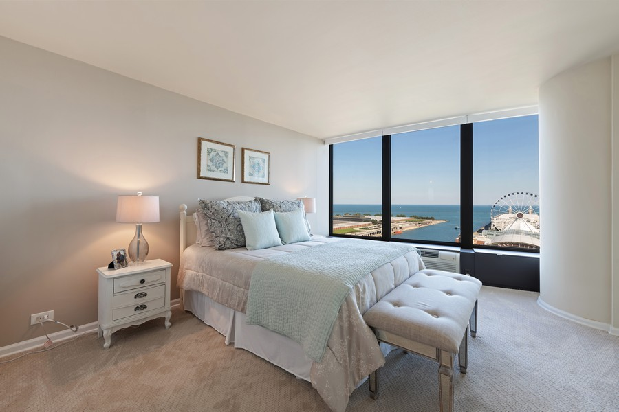 Real Estate Photography - 505 N. Lake Shore Drive, Unit #1606, Chicago, IL, 60611 - Bedroom