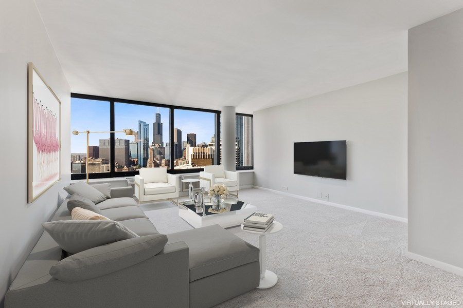 Real Estate Photography - 155 N Harbor Dr, Chicago, IL, 60601 - Living Room