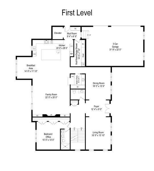 Real Estate Photography - 901 Bluff Rd, Glencoe, IL, 60022 - Floor Plan