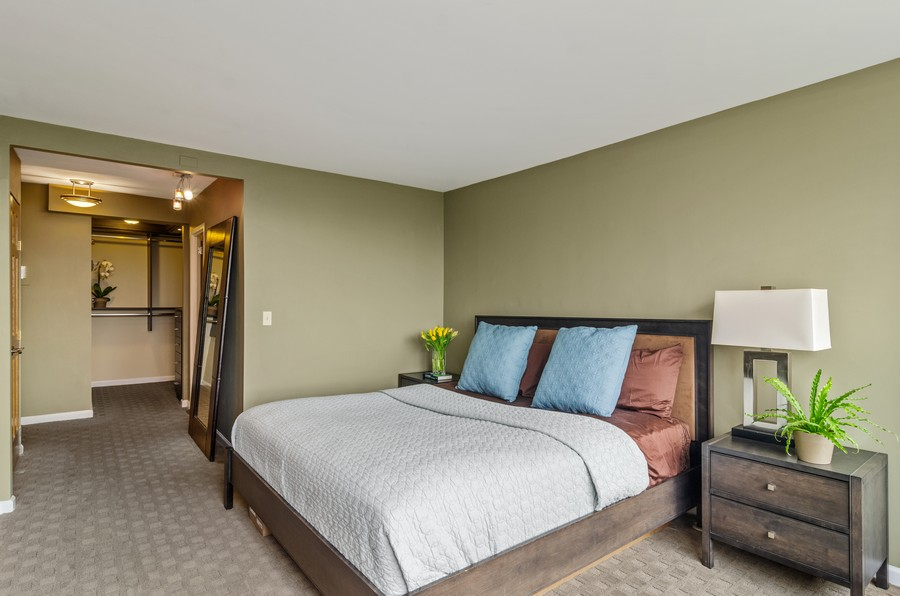 Real Estate Photography - 2800 N. Lake Shore Drive, Unit 1716, Chicago, IL, 60657 - Master Bedroom w/Walk in Closet