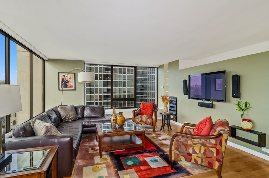 Real Estate Photography - 2800 N. Lake Shore Drive, Unit 1716, Chicago, IL, 60657 - Living Room