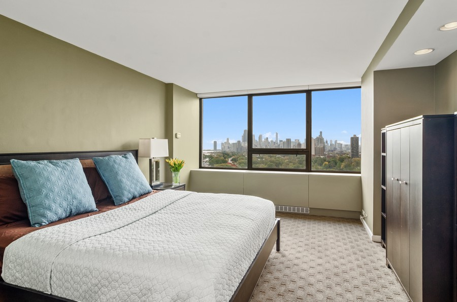 Real Estate Photography - 2800 N. Lake Shore Drive, Unit 1716, Chicago, IL, 60657 - Master Bedroom with Fantastic City Views