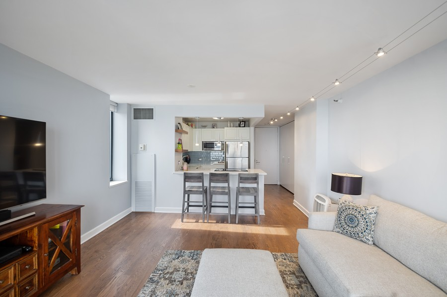 Real Estate Photography - 3660 N. Lake Shore Drive, Unit 3903, Chicago, IL, 60613 - Kitchen / Living Room