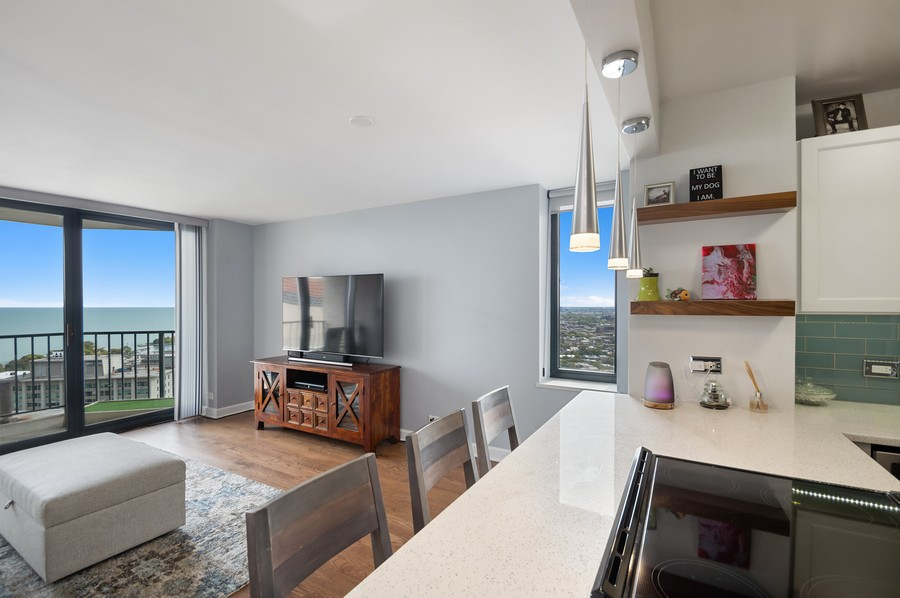 Real Estate Photography - 3660 N. Lake Shore Drive, Unit 3903, Chicago, IL, 60613 - Kitchen/Living