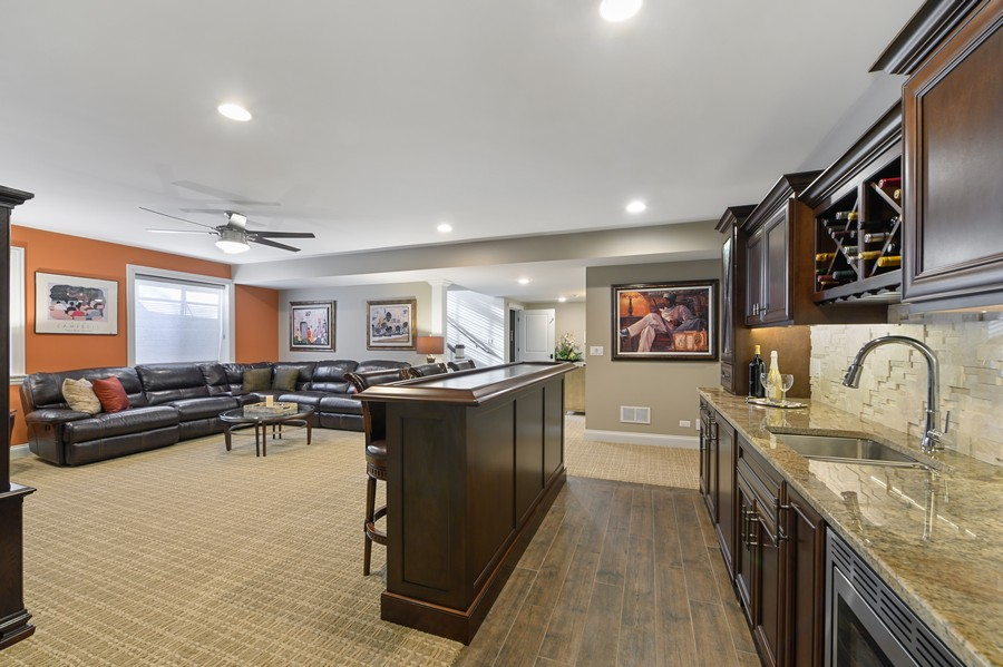 Real Estate Photography - 4425 Oakwood Ave, Downers Grove, IL, 60515 - Rec Room and Wet Bar