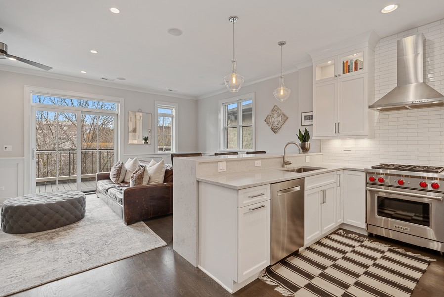 Real Estate Photography - 3645 N Damen Ave #3, Chicago, IL, 60618 - Kitchen/Living