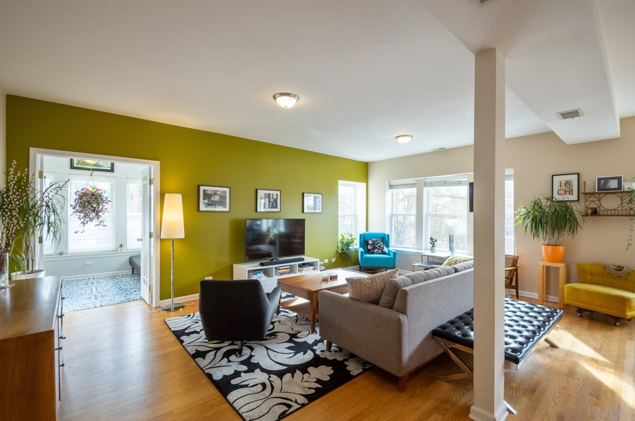 Real Estate Photography - 3100 W Leland, #201, Chicago, IL, 60625 - Living Room