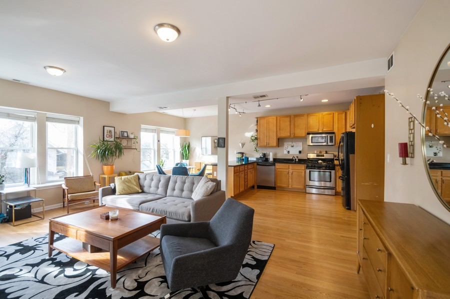 Real Estate Photography - 3100 W Leland, #201, Chicago, IL, 60625 - Kitchen/Living