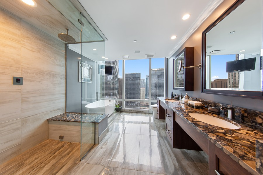 Real Estate Photography - 340 E Randolph St, Unit 2706, Chicago, IL, 60601 - Master Bathroom