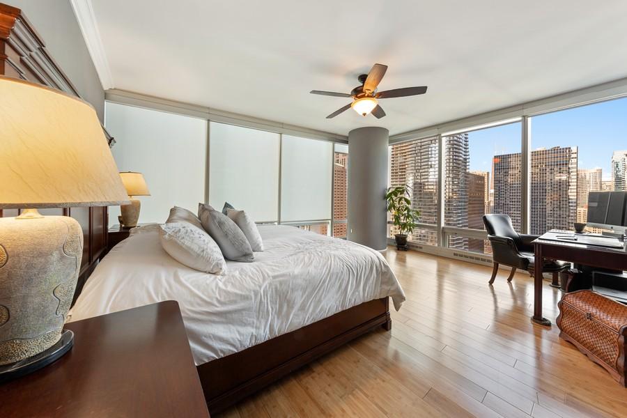 Real Estate Photography - 340 E Randolph St, Unit 2706, Chicago, IL, 60601 - Master Bedroom