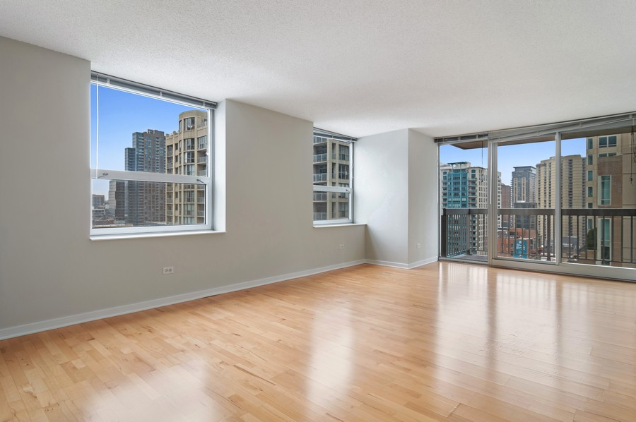 Real Estate Photography - 545 N Dearborn St, Apt 1501, Chicago, IL, 60654 - Living Room / Dining Room