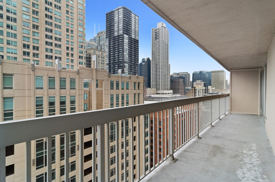 Real Estate Photography - 545 N Dearborn St, Apt 1501, Chicago, IL, 60654 - Balcony