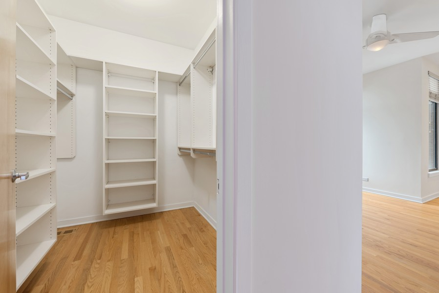 Real Estate Photography - 4003 N Wolcott Ave, Unit D, Chicago, IL, 60613 - Master Bedroom Closet