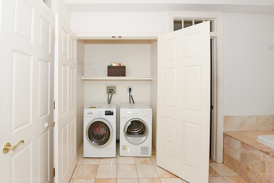 Real Estate Photography - 2126 Thornwood, Wilmette, IL, 60091 - Convenient first floor laundry closet