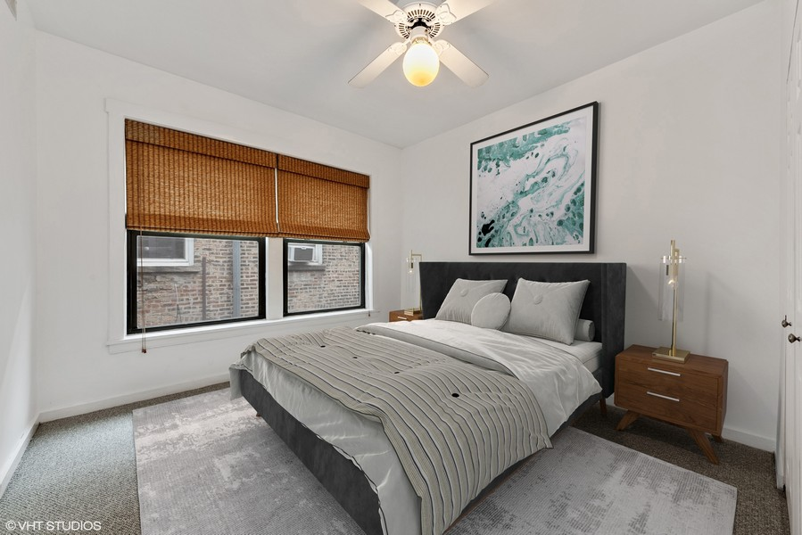 Real Estate Photography - 3723 N Pine Grove #3N, Chicago, IL, 60613 - 3rd Bedroom fits Queen Size Bed