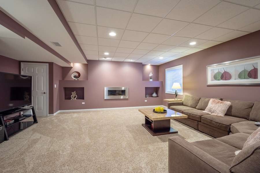 Real Estate Photography - 45 Tournament Dr North, Hawthorn Woods, IL, 60047 - Media Room - Basement
