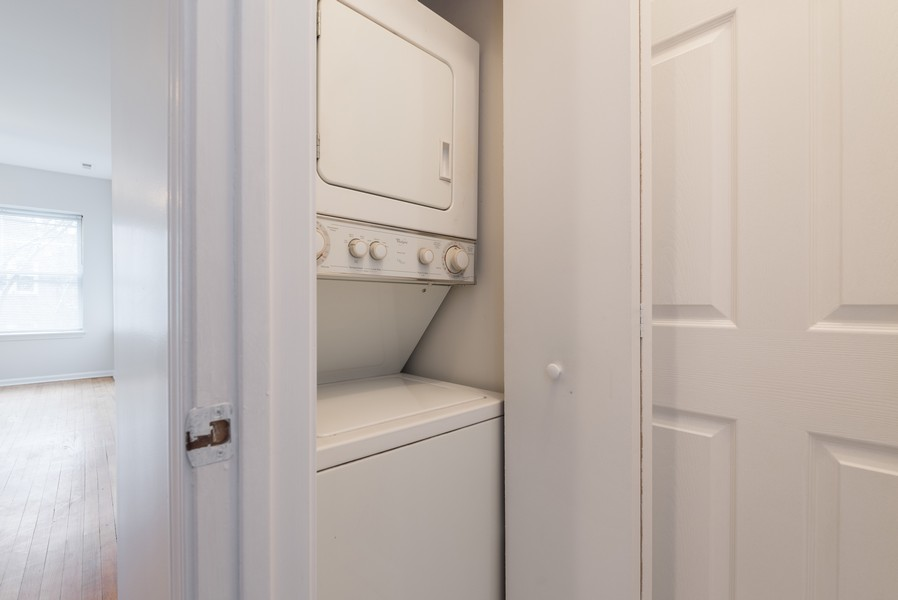 Real Estate Photography - 3110 W Belle Plaine Ave, Unit 3, Chicago, IL, 60618 - Laundry Room