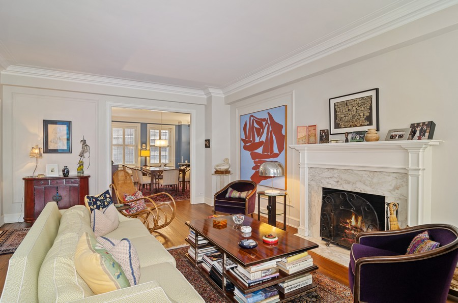 Real Estate Photography - 237 E Delaware Pl, Unit 7B, Chicago, IL, 60611 - Living Room leads to Separate Dining Room