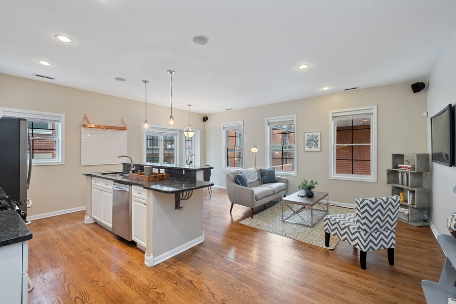 Real Estate Photography - 1034 W Monroe, Chicago, IL, 60607 - Kitchen / Living Room