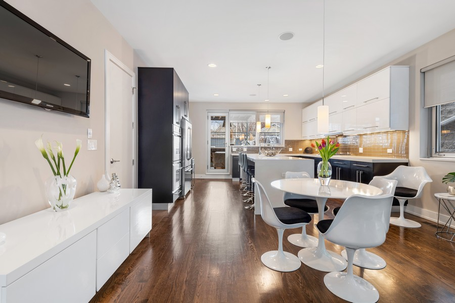Real Estate Photography - 1335 N Bosworth, 1S, Chicago, IL, 60642 - Kitchen / Dining Room