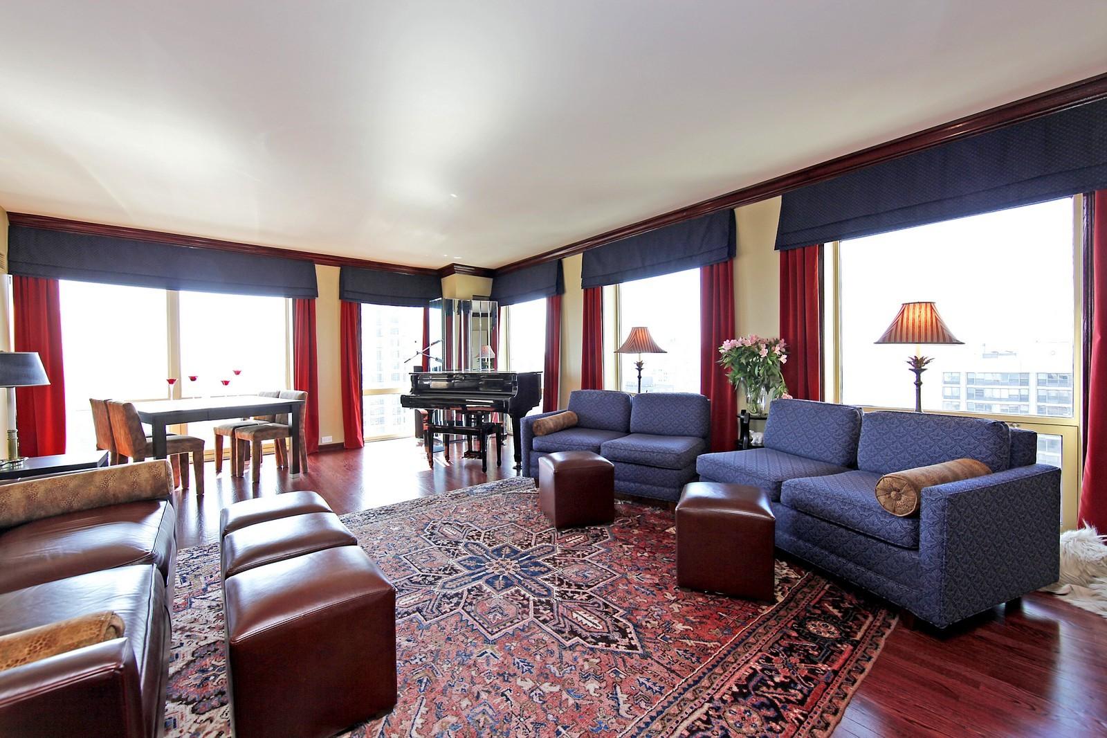 Real Estate Photography - 100 E Huron, Unit 4504, Chicago, IL, 60611 - Living Room