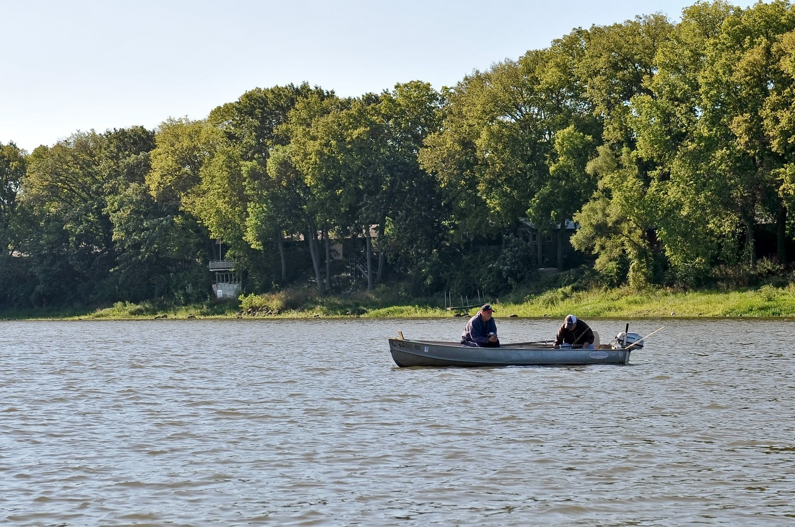 Real Estate Photography - 23250 Florian Dr, Wilmington, IL, 60481 - Fisherman enjoying their morning on the River