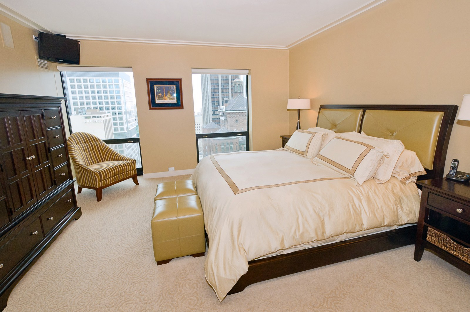 Real Estate Photography - 100 E Huron, 2103, Chicago, IL, 60611 - Master Bedroom