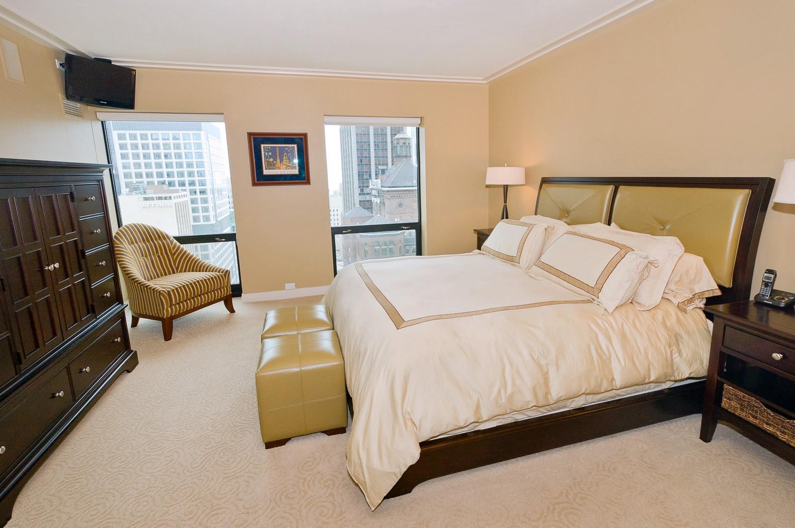 Real Estate Photography - 100 E Huron, 2103, Chicago, IL, 60611 - Master Bedroom