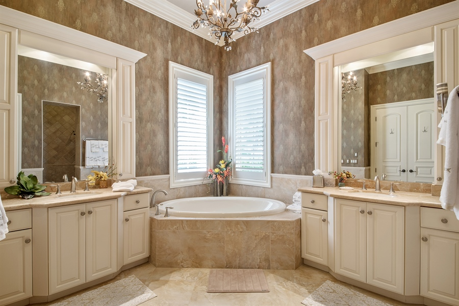 Real Estate Photography - 4800 Whispering Pine Way, Naples, FL, 34103 - Master Bathroom
