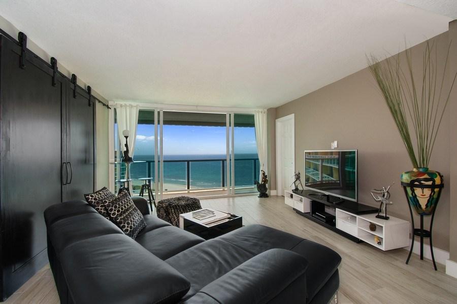 Real Estate Photography - Tiara East Condos, 333 NE 21st Ave #1802, Deerfield Beach, FL, 33441 - Living Room