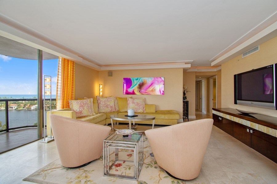 Real Estate Photography - 19667 Turnberry Way, Aventura, FL, 33180 - Living Room
