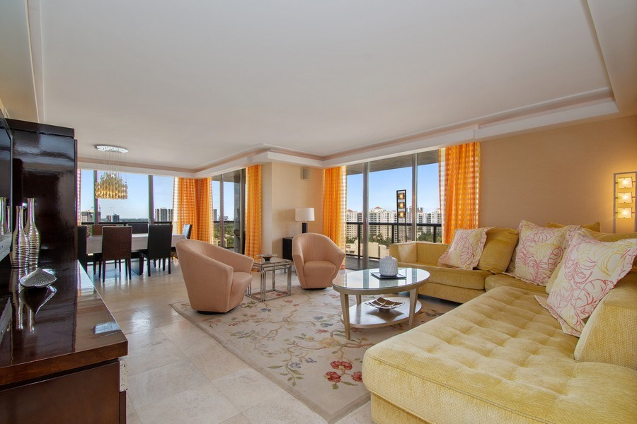Real Estate Photography - 19667 Turnberry Way, Aventura, FL, 33180 - Living Room / Dining Room