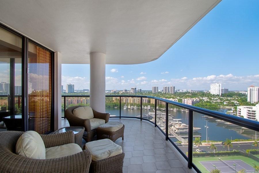 Real Estate Photography - 19667 Turnberry Way, Aventura, FL, 33180 - Balcony