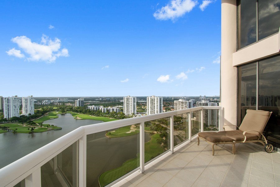 Real Estate Photography - 20185 E. Country Club Drive, TS 5, Aventura, FL, 33180 - Balcony