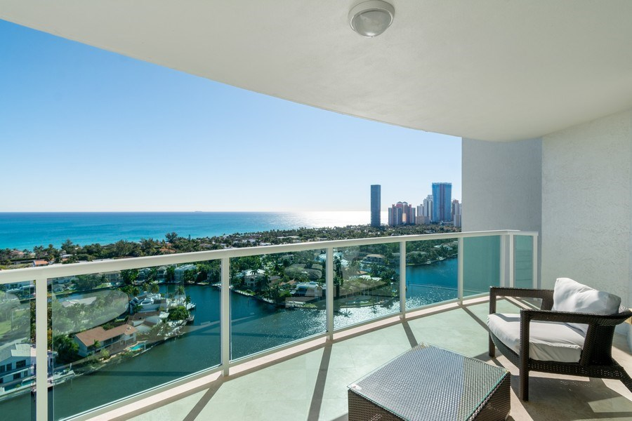 Real Estate Photography - 20201 E. Country Club Dr., 2304, Aventura, FL, 33180 - Balcony