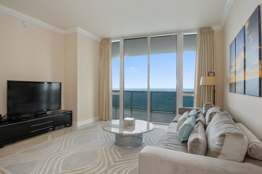 Real Estate Photography - 16001 Collins Ave., 2707, Sunny Isles Beach, FL, 33160 - Living Room