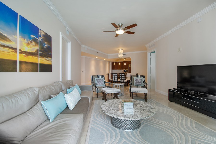 Real Estate Photography - 16001 Collins Ave., 2707, Sunny Isles Beach, FL, 33160 - Kitchen / Living Room