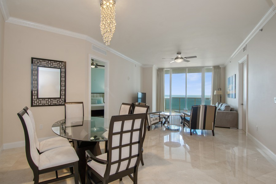 Real Estate Photography - 16001 Collins Ave., 2707, Sunny Isles Beach, FL, 33160 - Living Room / Dining Room