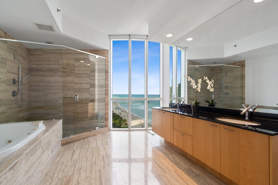 Real Estate Photography - 16001 Collins Ave., 1401, Sunny Isles Beach, FL, 33160 - Master Bathroom